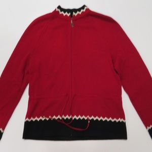 St. John Sport Red Zip Up Cardigan Sweater Small